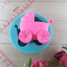 Children's car Stroller chocolate silicon mold fondant Cake decoration mold (si232)(China)