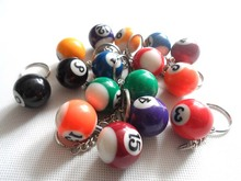 Free Shipping 2pcs/lot Billiard Ball Nomber keychain Pool keyring Snooker keychain  25mm 16balls Billiard Nomber gift  keychain