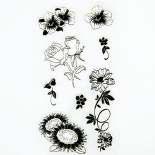 YLCS008 sunflower silicone clear stamps for Scrapbooking DIY album cards making decoration TPR transparent rubber stamp 11*20cm(China)