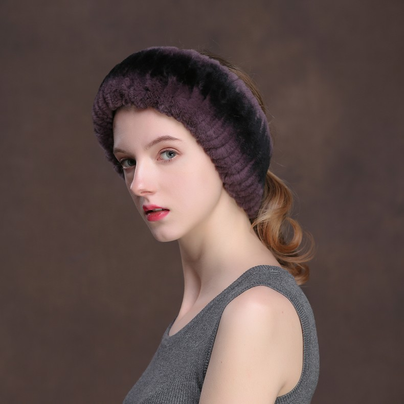 Winter Fur Headbands For Women Knitted Rex Rabbit Fur Scarf Hats Natural Fur Ring hairband Neckwarmer female (20)
