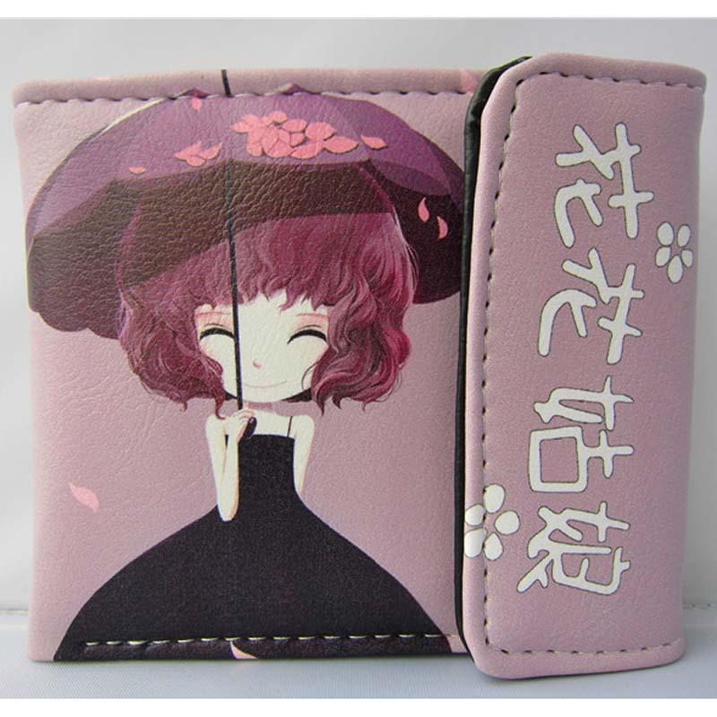 New Arrival: Artistic Girl Folding PU Short Wallet/Flower Girl Colorful Button Purse : Sakura Girl<br><br>Aliexpress
