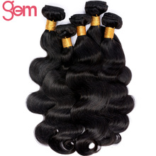 GEM Beauty Brazilian Virgin Hair Body Wave Unprocessed Human Hair Weave Bundles Natural Color 1pc/lot 10-28 inch Can Be Dyed