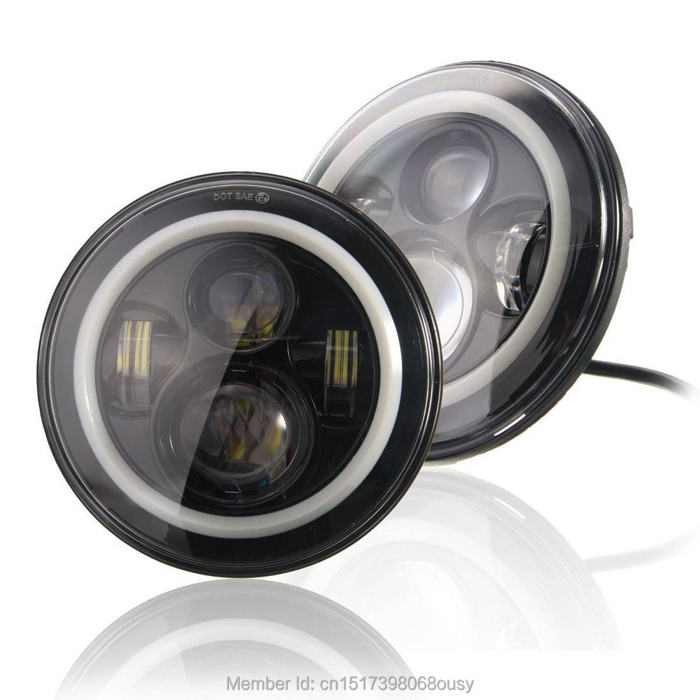 Pair 7 INCH 40W Round LED Headlight with halo ring High Low beam LED Lights  for Jeep Wrangler JK CJ FJ Cruiser<br><br>Aliexpress