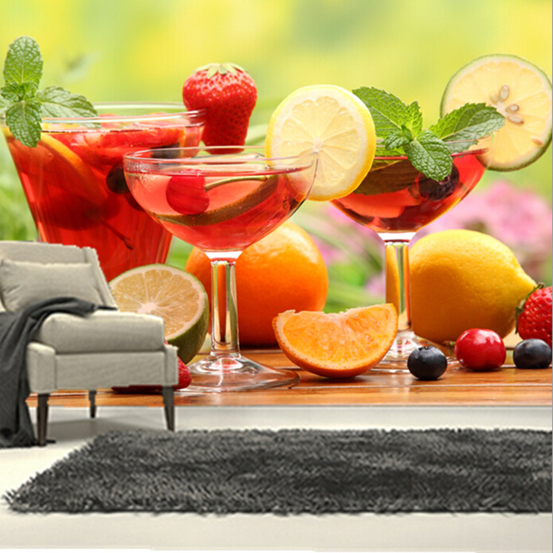 The custom 3D murals,all kinds of fresh and delicious fruit cocktail, cafe wall restaurant  kitchen dining room wall wallpaper<br>