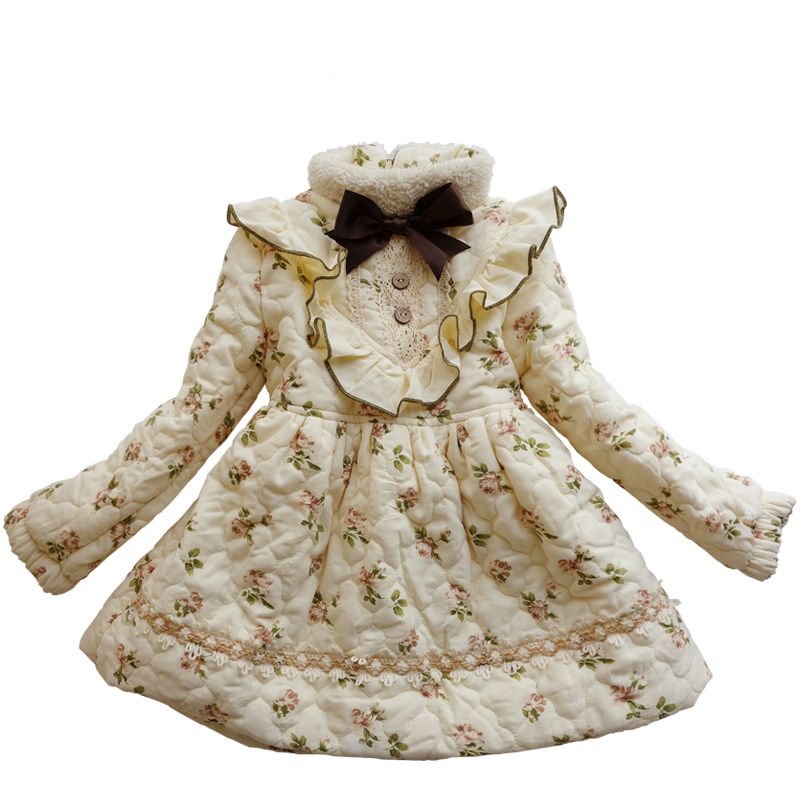 Original design retro dresses winter Autumn baby girls wear kid Bow tie long sleeve dress printing flower children clothes 2-12T<br>