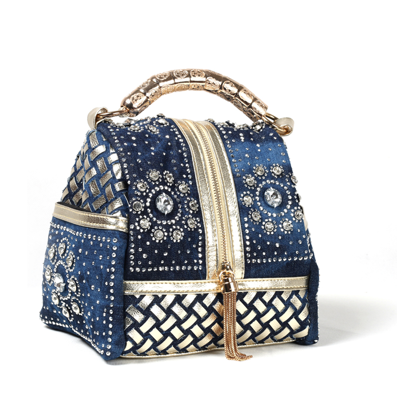 2017 Cowboy Knitting Diamond Tassel Shoulder Bag Luxury Handbags Women Bags Designer Handbag High Quality Mobile Phone Pocket<br>