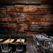 Custom mural Retro Nostalgic World Map Wooden Restaurant Mural Background Wall bathroom custom wallpaper(China)