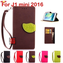 LELOZI Cheap New Leaf Clasp Buckle PU Leather Flip Wallet Stand Phone Case Cover For Samsung Galaxy Gelaksi Galaksi J1 mini 2016(China)