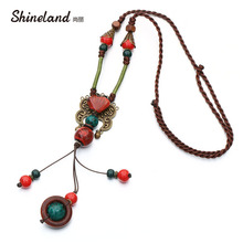 2018 New Bohemia Style Jewelry Antique Gold And Red Color Ceramics Beads Ethnic Long Necklace For Women Statement Jewelry(China)
