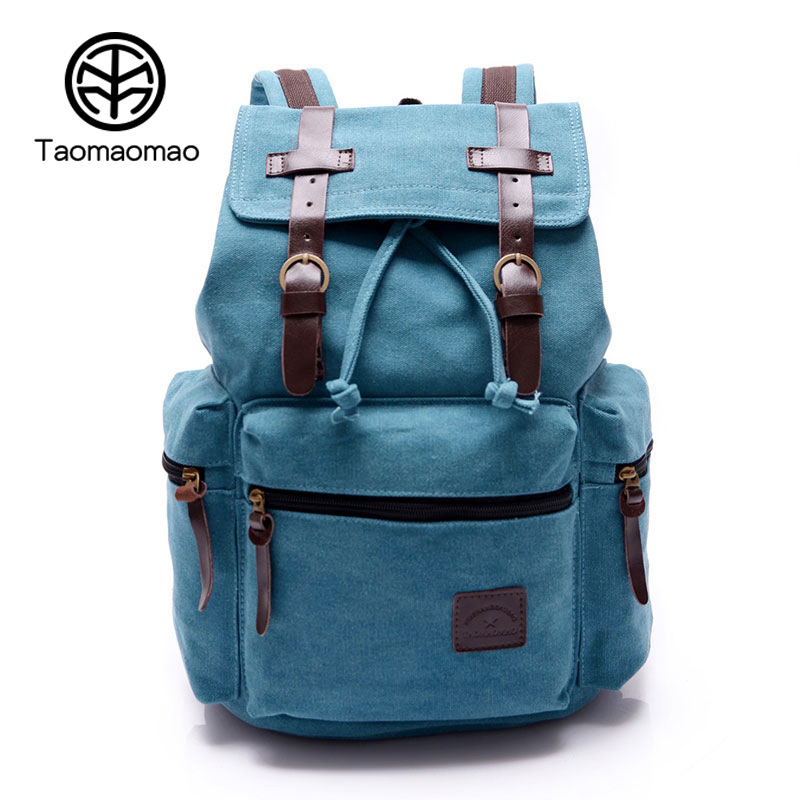 Taomaomao 2017 Vintage Women Canvas Backpack Girl School Bags For Teenagers Large Crossbody Canvas Bag Mochilas Feminina WH564<br>