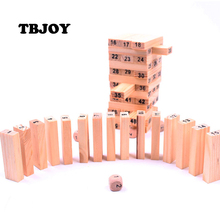 1 Set Kids Digital Wooden Tower Puzzles Domino 54pcs and 4pcs Dice Stacker Stacker Extract Educational Learning Games Baby Toys