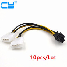10pcs 6 inch 2 x Molex 4 pin to 6-Pin PCI Express Video Card Pci-e ATX PSU Power Converter Cable - Molex to Pcie 6 pin Adapter(China)