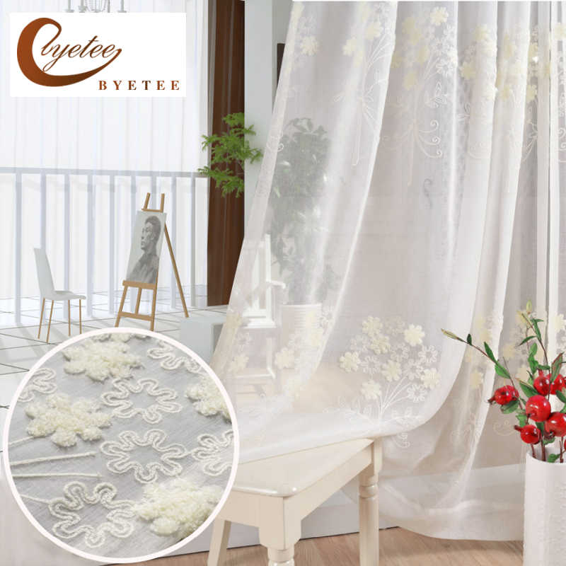 [byetee] Cotton And Linen White Embroidered Voile Korean Pastoral Living Room Bedroom Bay Window Terraces Finished Curtain Tulle