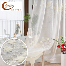 [byetee] Cotton And Linen White Embroidered Voile Korean Pastoral Living Room Bedroom Bay Window Terraces Finished Curtain Tulle(China)