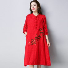 2018 New Spring And Autumn Embroidery Vintage Long Sleeve Women Dresses Loose Cotton And Linen Midi Ethnic Style China Dress(China)