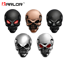 8x5.5cm Silver 3D 3M Skull Metal Auto Motorcycle Sticker Emblem Badge car styling For Ford Chevrolet Honda Hyundai Kia Focus VW(China)