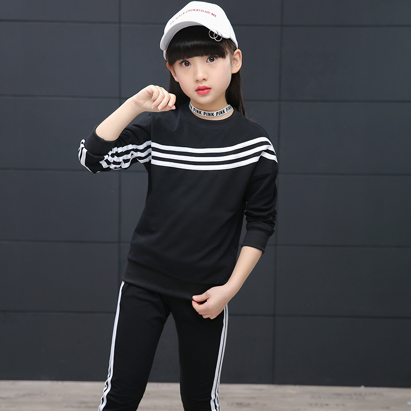 Girls clothes new fashion sports suit for 3 4 5 6 7 8 9 10 11 12 years old kids red black tops and pants childrens clothing set<br><br>Aliexpress