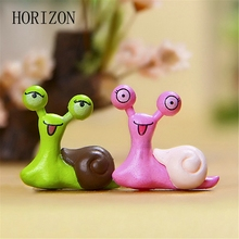 2PCs/set cute cartoon snail Miniature Snail Figurine Decor Fairy Garden Dollhouse Ornament Model Toy for Kids dust plug(China)