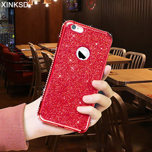 Luxury Bling Diamond Silicone Phone Case iPhone 7 8 6 S 6S Plus 2 IN 1 Soft TPU Plating Glitter Cases iPhone X Cover 10