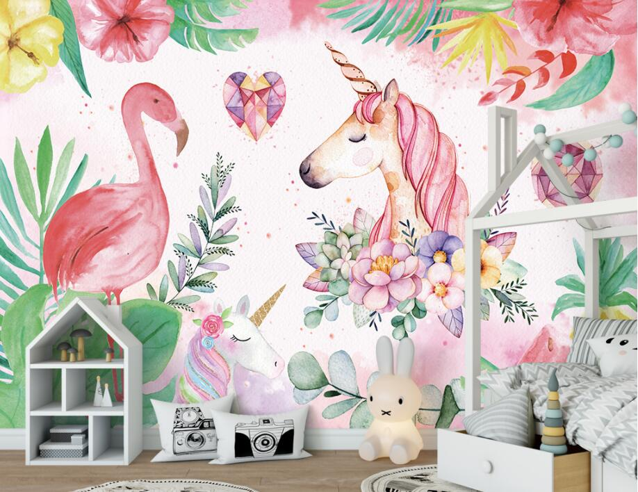 HTB1wsRgsb9YBuNjy0Fgq6AxcXXa2 - Custom High-quality wallpaper nordic flamingo unicorn For Children Room