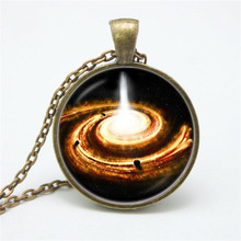 Fashion Statement Necklace Flame Galaxy Planet Glass Cabochon Pendant Jewelry Chain Necklace for Women Men(China)