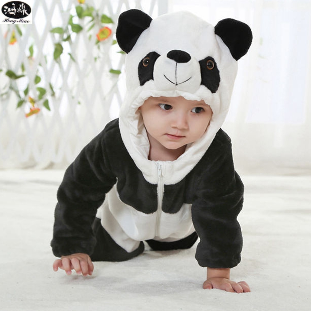 Winter Flannel Cartoon Animal Panda KT Cat Tiger Newborn Baby Boy Clothes Girl Baby Creepers Costume Indoor Infantil Jumpsuit<br>