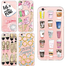 Newest Coffee Cup Sexy Woman's Shoes Ice Cream TPU Phone Cases For iphone 5 5s se 6 6s 7 7 Plus TPU Silicon Shells Back Capa