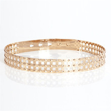 Chic Women Punk Rivet Full Metal Card Type Mirror Skinny Waist Belt 3cm Wide Chains Ladies Decorative Gold Color Belt for Dress(China)