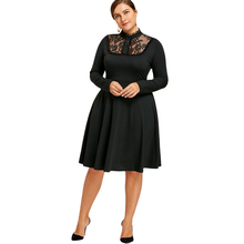 ZAFUL Plus Size Lace Trim A Line Vintage Dress Elegance Black See Through Women Party Dress Europe Palace Vestidos(China)