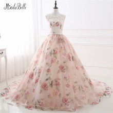 Beautiful Flower Print Floral Wedding Dresses Real Photo Princess Cheap Simple Lace Pink Blush Bridal Ball Gowns Gelinlik 2017(China)