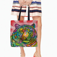 Lion And Tiger Designs Tote Bags Double Sided Printing Canvas Animals Pattern Open Pocket Bag Shopping Handle Bags(China)