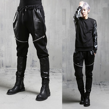 2016 Metrosexual New Casual Pants For Man Korean Style Patchwork Leather Fashion Personality Hip Hop Harem Pants Male Trousers