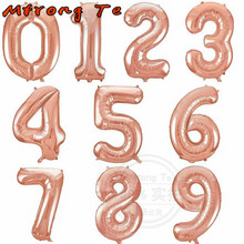 Mtrong Te 40inch Rose gold American Style Number Foil Helium Balloons Gold Silver Blue Pink Big Number birthday Number balloons(China)