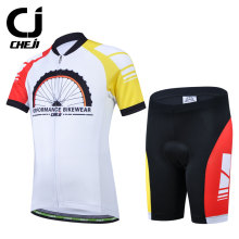 Cheji Children Red Yellow White Cycling Jersey Short Sleeve Set Breathable Bike Clothing Ropa Ciclismo Bicycle Clothes Kids