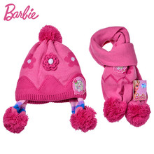 Barbie 4-10 years Girl Hat Scarf Set Fashion Lovely Knitted Girl Hat with 2 Hairball Plus Velvet Princess Winter Warm Cap(China)