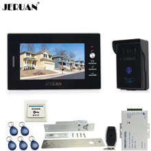 JERUAN luxury 7`` Video Intercom Entry Door Phone System+700TVL Touch Key Waterproof RFID Access Camera+Electric Drop Bolt lock