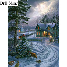 5d diy diamond painting cross stitch diamond embroidery landscape winter snow picture diamond mosaic Christmas gift fc738(China)