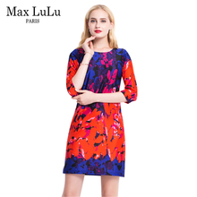 Max LuLu Vintage Brand Clothing Red Floral Women's Party Dresses Knee-length Ladies Fashion Elegant Dress Woman Big Size A-Line