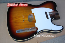 High Quality Semi-finished Eelctric Guitar Body,Ash wood Body,Tobacco Sunburst Color,White Pickguard,can be Customized