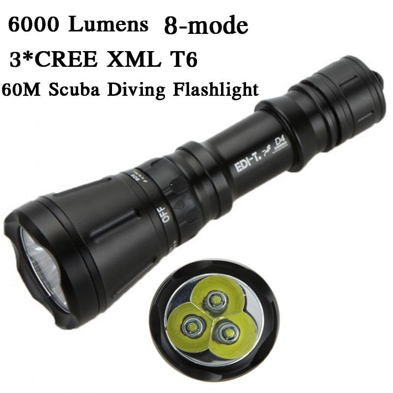 6000 Lumens 3*CREE XML T6 8-mode 60M LED Dive Lamp Scuba Diving Flashlight Underwater Hunting Flash Light,Use 26650<br>
