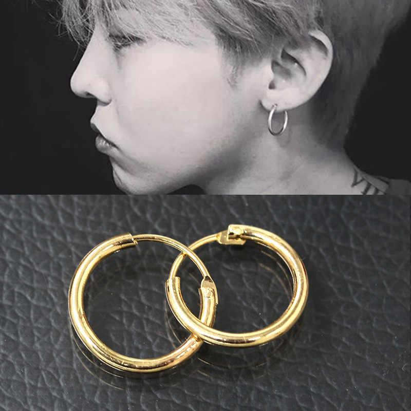 cbd5f9890 2018 Hot Men Women Smooth Round Circle Earring Small Loop Hoop Earrings Gold  Color Silver Huggie