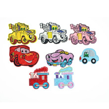 7.9*5.9cm Truck Armored Car Patch Appliques Badge DIY Decorative Accessory For Kids Clothes Iron On Patches Embroidered