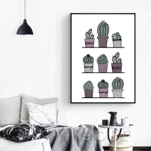 Pot Cactus Canvas Art Print Poster,  Wall Pictures for Home Decoration, Giclee Print Wall Decor S16023