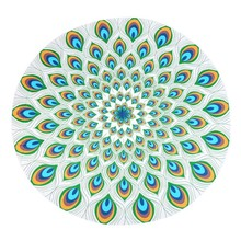 Summer Indian Mandala Round Feather Pattern Tapestry Wall Hanging  Beach Throw Towel Yoga Mat  Decorative150Cm Round Beach Towe
