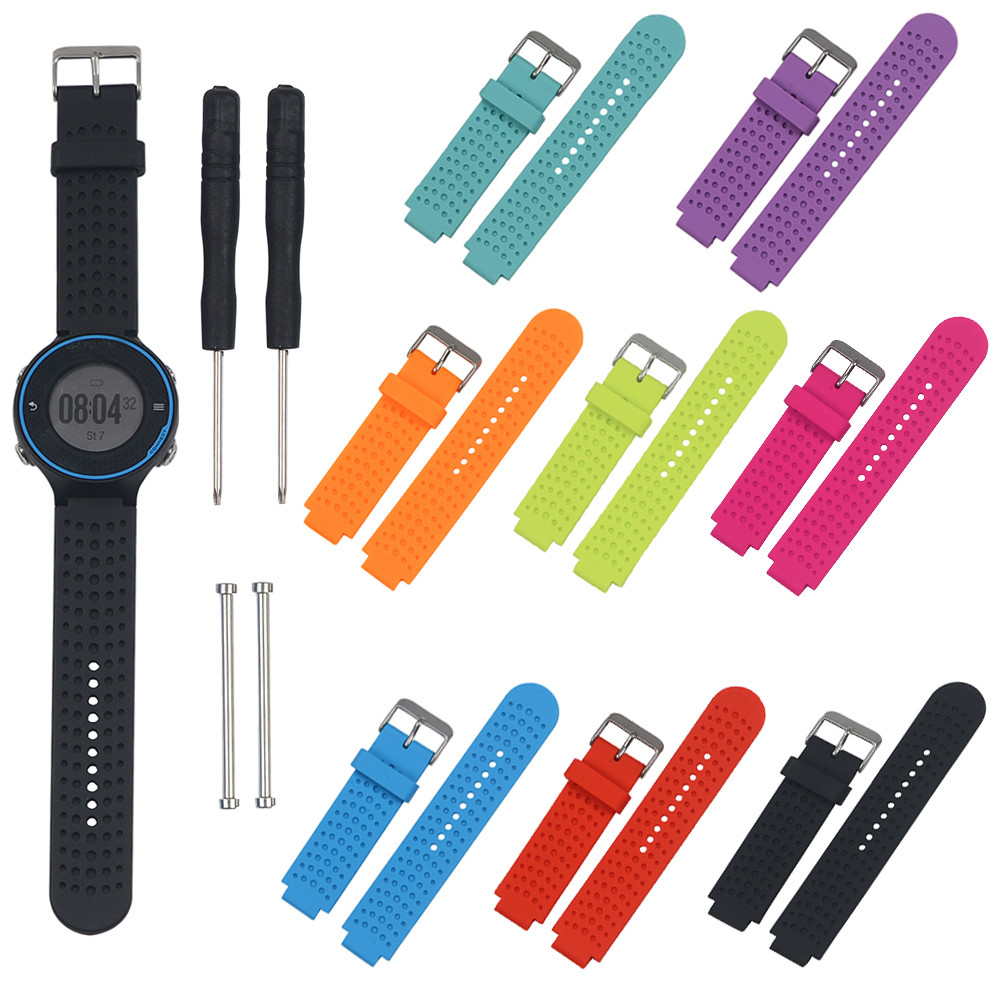 21mm Soft Silicone Strap Replacement Watch Band +2pc Lugs Adapters+2pc tool For Garmin Forerunner 620/630/735 Watch Correa Reloj<br><br>Aliexpress