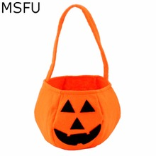 MSFU Halloween Decoration Smile Pumpkin Bag Kids Candy Bag Children Gifts Handheld Bag Party Festival Supplies Trick or Treat