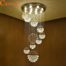 Modern Led Luxury Crystal Chandeliers Big Hanging Suspension Ceiling Lamp for Hotel Hall Villa Flower Ball shape Pendant