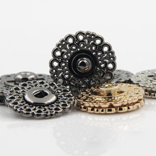 20sets Metal Snap Button 15mm 21mm 25mm Clasp buttons Hollow flower Invisible Coat Buttons Fashion Suit buckle Black Gold Silver