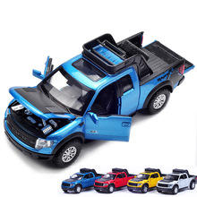 New Ford F150 Raptor 1:32 Pickup truck alloy car toy with Musical Flashing Pull Back Toy Collection Gifts For Baby kids(China)