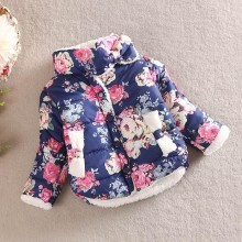 2016 girls warm coat baby winter long sleeve flower jacket children cotton-padded clothes kids christmas outwear(China)